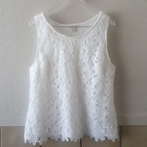 Saint Tropez west cut out lace lined tank EUC